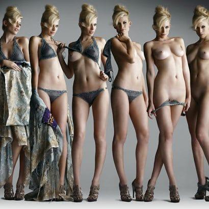 Nackt und bekleidet Sexy Blondine