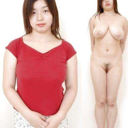Asiatin Angezogen ausgezogen