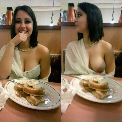 Nackte Hausfrauen im Restaurant