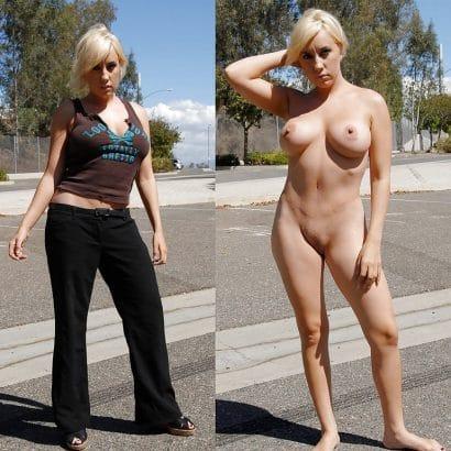Blonde Frau Nackt und angezogen