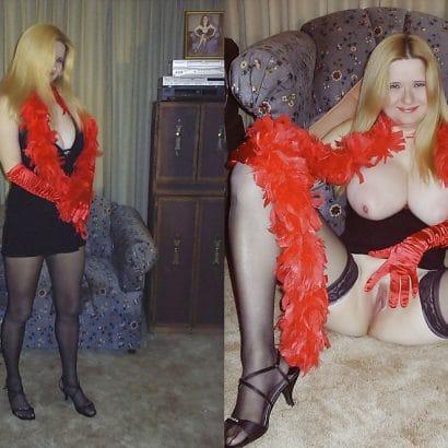 Nackt und bekleidet Blondine