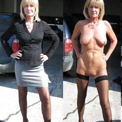 Nackt und bekleidet alte Oma
