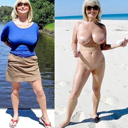 Nackt und bekleidet am Strand