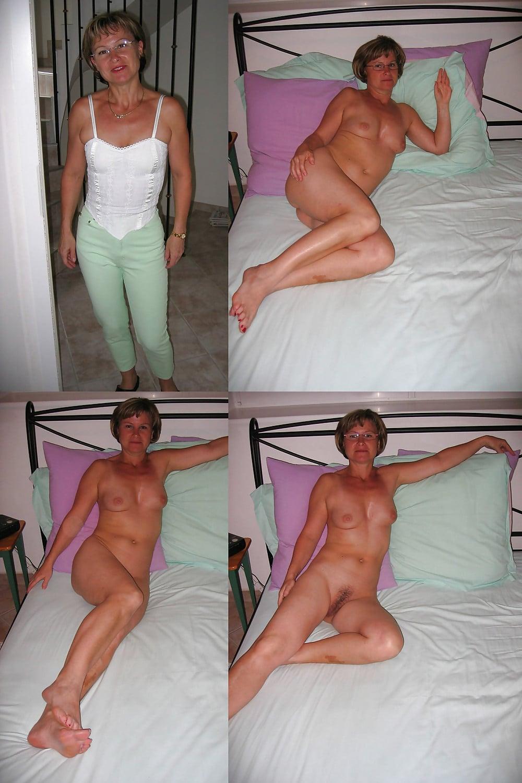 Frau Angezogen Nackt