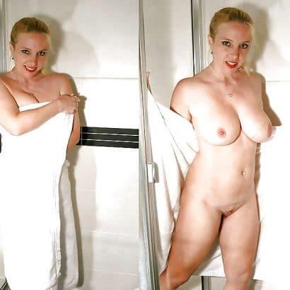 Angezogen ausgezogen am Duschen