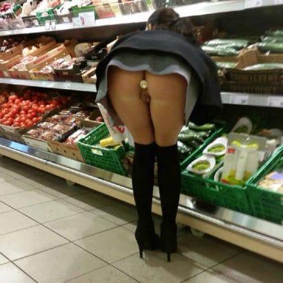 Zeigefreudig im Supermarkt