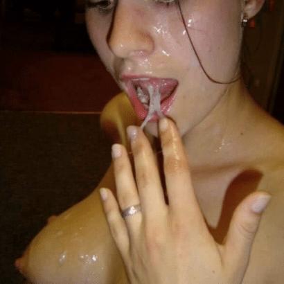 Exfreundin nackt mit Sperma